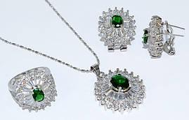 Набор: кулон, серьги и кольцо 17р., цвет: серебряный. Камни: зелёный циркон и россыпь белых фианитов.