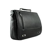 Практичный мужской кожаный портфель черный