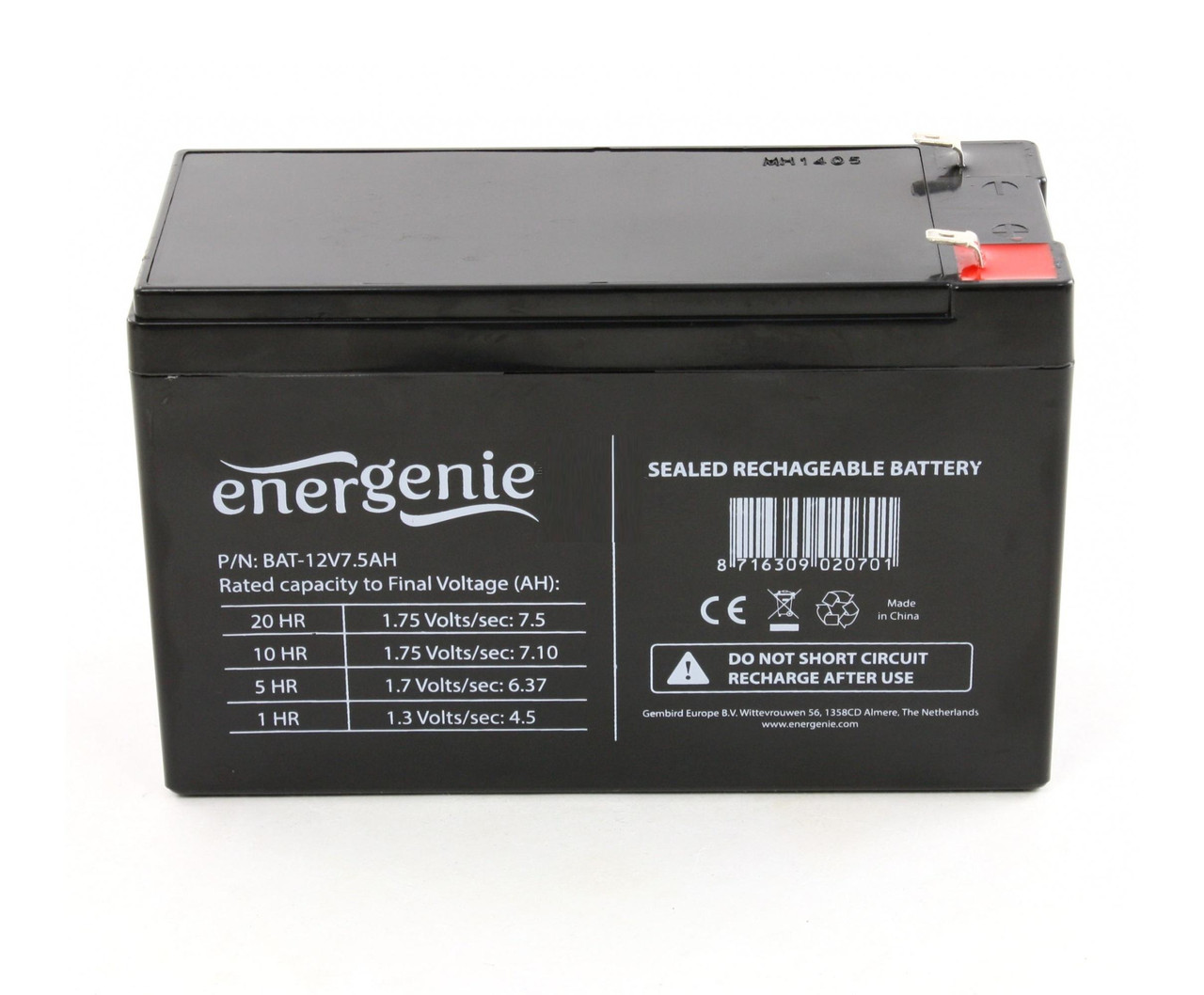 Аккумулятор EnerGenie 12V / 7Ah для детских электромобилей