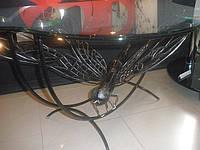 Журнальный столик кованый со стеклянной столешницей