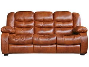 """Кожаный прямой раскладной диван """"Ashley"""" (Эшли), коричневый (195см)"""