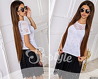 Модная женская блуза из гипюра с коротким рукавом , норма ,ST Style