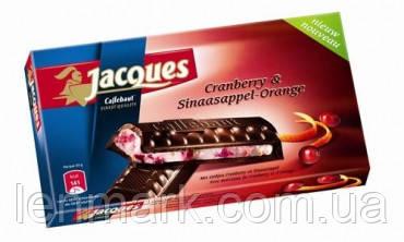 Черный шоколад Jacques Сranberry & sinaasappel-orange (с клюквой и апельсином), 200 г