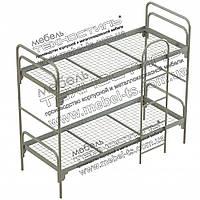 Кровать металлическая двухъярусная с лестницей №1