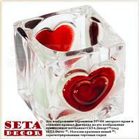 Подсвечник Кубик с сердечками стекло