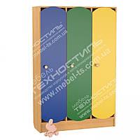 Шкафы детские для раздевалки трехсекционные - 1