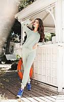 Уютный женский комбинезон свободного фасона со шнурком на талии рукав длинный ангора