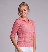 Красивая женская вязаная кофта розового цвета