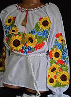 """Вышиванка для девочки """"Украинские подсолнухи"""", р.98-146, 270 грн./290 грн."""
