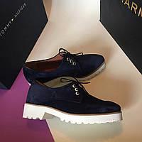 Стильные женские туфли для активной ходьбы от TroisRois из натурального замша. 2.0, Натуральная кожа, Синий