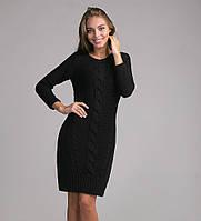 Стильное женское теплое платье-туника черного цвета