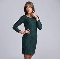 Оригинальное женское теплое платье-туника бутылочного цвета