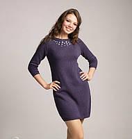 Модное женское вязаное платье-туника фиолетового цвета