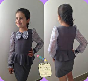 Школьное платье с бааской, рукава и бант декорирован принтом-горох, фото 2