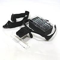 14-03-082. Лупа-очки бинокуляр налобная, 5 сменных линз: 1,0х; 1,5х; 2х; 2,5х; 3,5х, LED подсв., 9892В