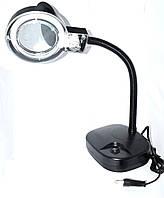 14-01-08. Лупа-лампа  ZD-123 Lamp настольная, круглая, 3Х +8Х, диам-90мм, чёрная