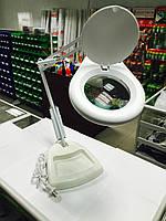 14-00-101. Лупа-лампа на подставке, LED подсветка, круглая, увеличение-5х, диам-130мм, ZD-129