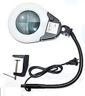 14-0117. Лупа-лампа ZD-129В Led, на струбцине, круглая, 5Х, диам-130мм, чёрная