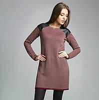 Оригинальное вязаное женское платье-туника с вставками из эко-кожи