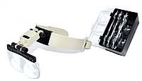 14-0220. Лупа бинокулярная MG81002 налобная с Led подсвет., 1,2Х 1,8Х 2,5Х 3,5Х