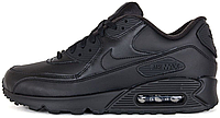 Мужские кроссовки Nike Air Max 90 Leather Black (Найк Аир Макс 90) черные
