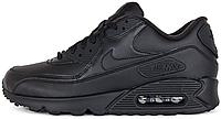 Мужские кроссовки Nike Air Max 90 Leather Black (Найк Аир Макс 90) в стиле черные
