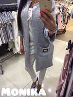 Женская кофта удлиненная с карманами и аппликацией вязка ангора серый 5052/03 МТ