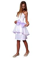 Платье нарядное детское из атласа с бантом М -1055 рост 128-164