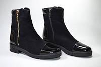 Женские ботинки из натурального замша и лаковой кожи