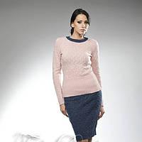 Модный женский вязаный комплект из джемпера и юбки