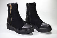 Женские ботинки на низком ходу, натуральная кожа и замш. Возможен отшив в других цветах кожи и замши