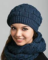 Стильный женский комплект из шапочки и шарфа-петли