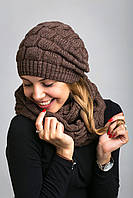 Красивый женский комплект из шапочки и шарфа-петли