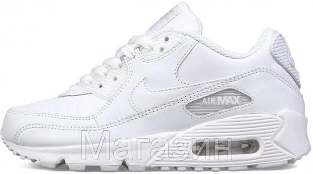 Мужские кроссовки Nike Air Max 90 Leather All White (в стиле Найк Аир Макс  90 ee63562d488