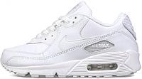 Мужские кроссовки Nike Air Max 90 (кожаные найк аир макс) белые