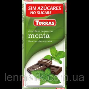 Черный шоколад без глютена и сахара Torras Menta с мятой, 75 г.