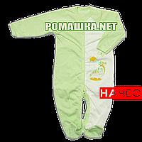 Человечек для новорожденного р. 80-86 с начесом ткань ФУТЕР 100% хлопок ТМ Алекс 3042 Зеленый2 86