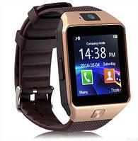 Умные часы Smart watch DZ09 gold+coffee золото+кофейный