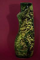 Ваза настольная зеленый малахит Свиток