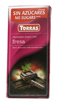 Черный шоколад без глютена и сахара Torras Fresas с клубникой, 75 г.