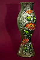 Красивая ваза шамот серебро цветы