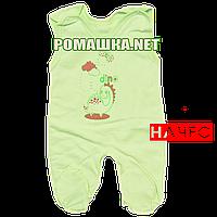 Ползунки высокие с застежкой на плечах р. 56 с начесом ткань ФУТЕР 100% хлопок ТМ Алекс 3167 Зеленый