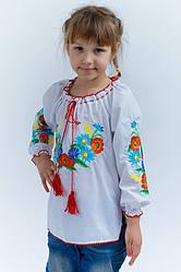 Детская вышиванка маки, незабудки и колоски