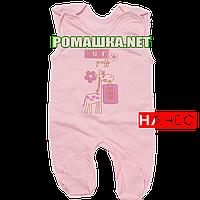 Ползунки высокие с застежкой на плечах р. 68 с начесом ткань ФУТЕР 100% хлопок ТМ Алекс 3167 Розовый