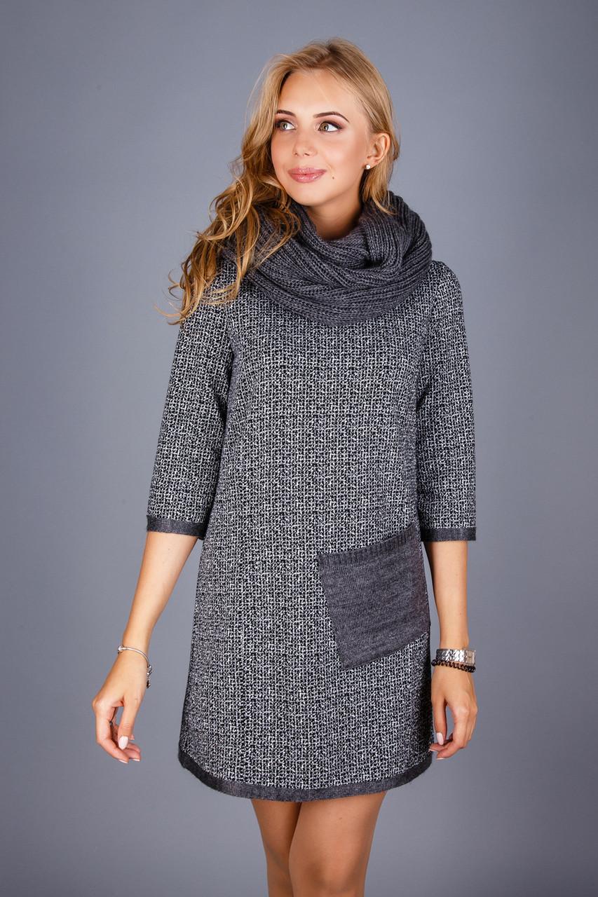 048395c98af Купить Теплое платье с шарфом 346547158 - Грация   Стиль