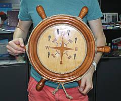 Настенная деревянная ключница Штурвал 53 см. Ручная работа