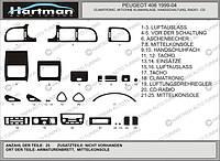 Peugeot 406 1999-2005 накладки на панель цвет светлый шпон