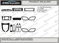 Peugeot 308 2007+ накладки на панель цвет алюминий