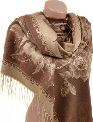 Красивый женский кашемировый палантин размером 70*180 см Подиум 32104-5 (коричнево-бежевый)
