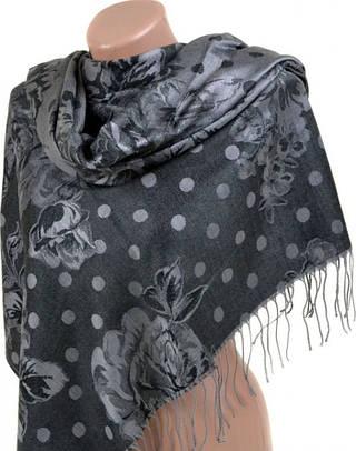 Элегантный женский кашемировый палантин размером 70*180 см Подиум 32103-2 (черный с серым)